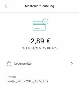 Zahlung mit Debit Mastercard