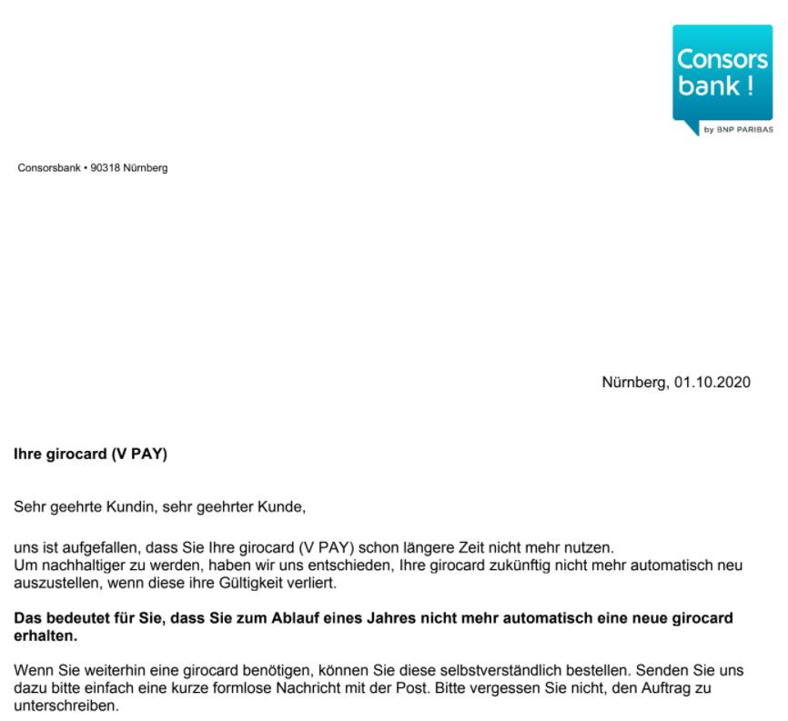 Consorsbank Schreiben Girocard